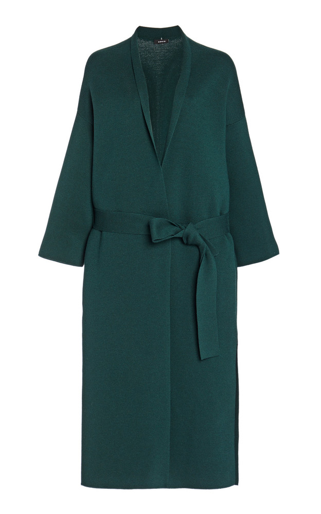 Akris Belted Wool-Silk Wrap Coat in green