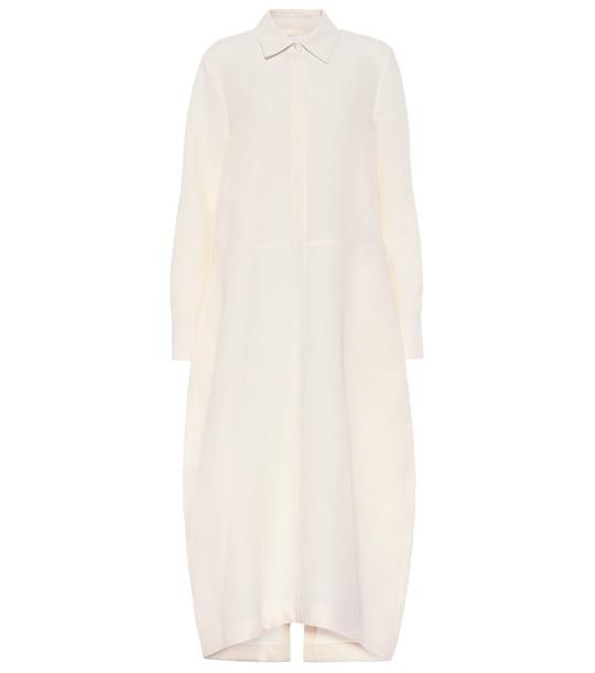 Jil Sander Cotton and silk shirt dress in beige
