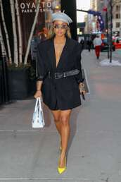 jacket,blazer,black blazer,karrueche,spring outfits,celebrity,pumps,shorts,belt,hat