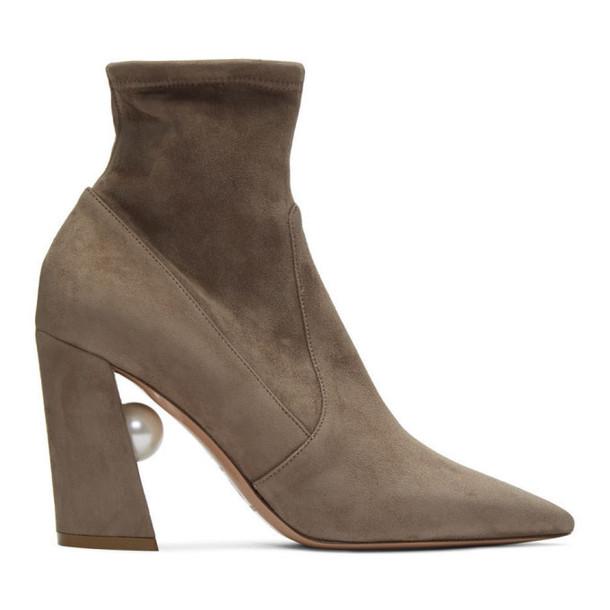 Nicholas Kirkwood Taupe Stretch Miri Boots