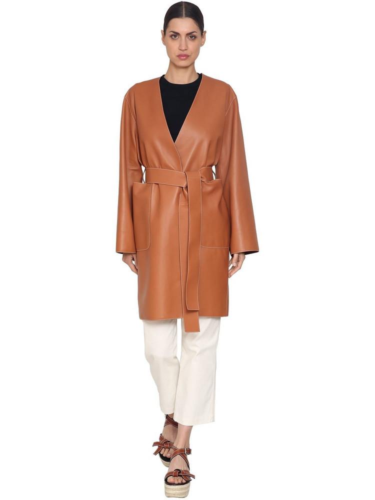 LOEWE Wrap Nappa Leather Coat in tan