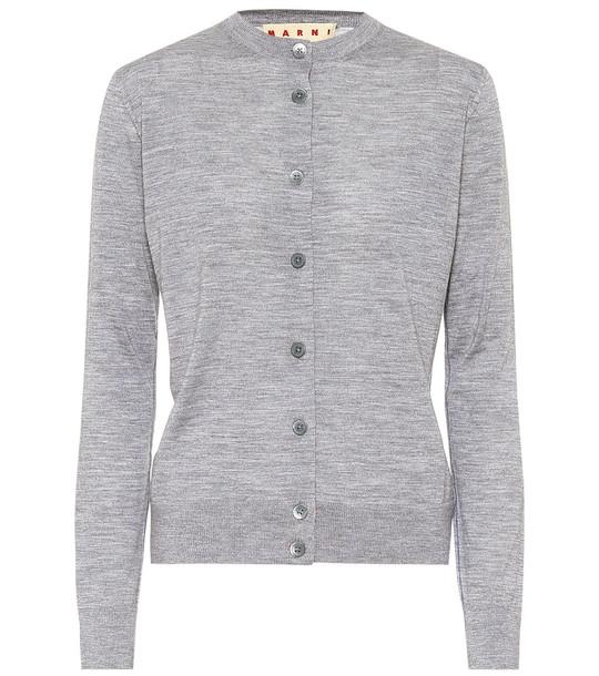 Marni Wool, silk and cashmere cardigan in grey