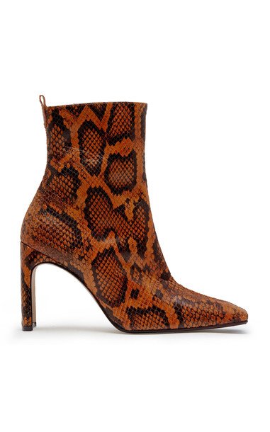 Miista Marcelle Snake-Effect Leather Ankle Boots in orange