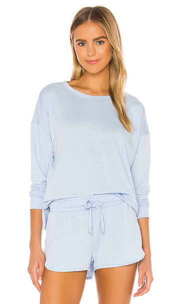 onzie High Low Sweater in Baby Blue