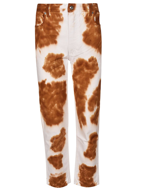 Eckhaus Latta Cow Pattern Jeans in bianco / multi