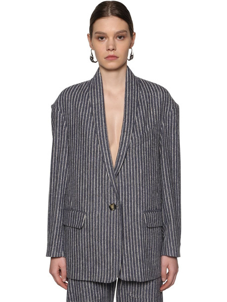 ISABEL MARANT ÉTOILE Piety Pinstripe Cotton Blend Jacket in blue