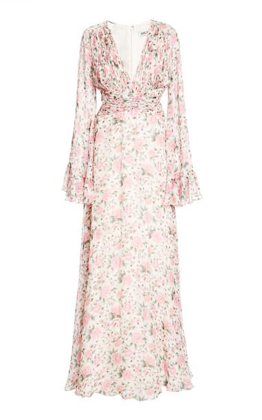 AMUR Ros Deep V-neck Silk Gown in print