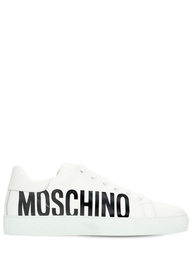 MOSCHINO 25mm Leather Sneakers in white