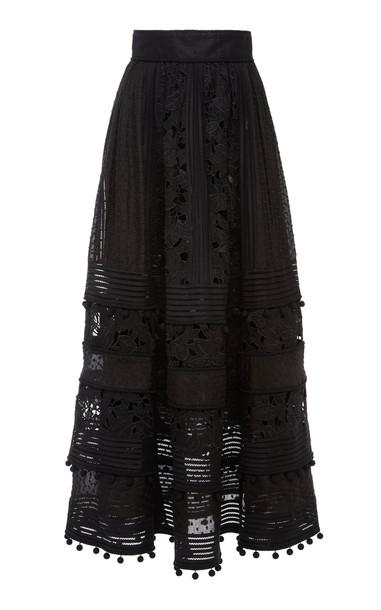 Zimmermann Corsage Embellished Midi Skirt in black
