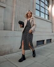 dress,midi dress,slit dress,black dress,black boots,suede jacket,black bag
