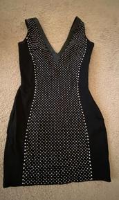 dress,bebe,black,tight,stones,medium,small
