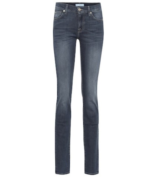 7 For All Mankind Roxanne mid-rise skinny jeans in blue