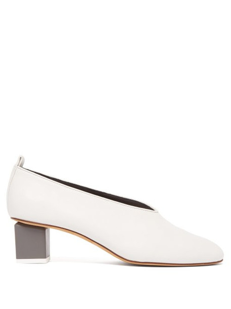 Gray Matters - Mildred Block Heel Leather Pumps - Womens - White