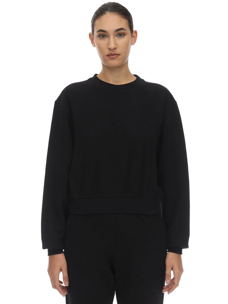 REEBOK X VICTORIA BECKHAM Cropped Cotton Sweatshirt in black