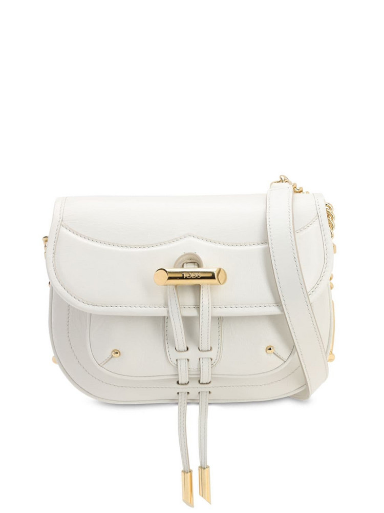 TOD'S Cracle Leather Shoulder Bag in white