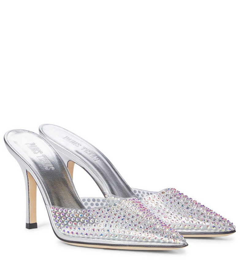 Paris Texas Hollywood embellished mules in silver