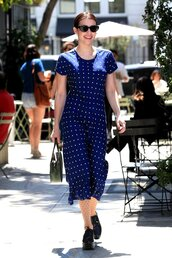 dress,navy,navy dress,polka dots,celebrity,spring outfits,emma roberts