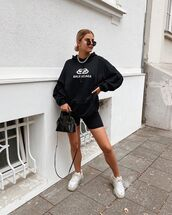 sweater,black hoodie,balenciaga,white sneakers,black shorts,black bag