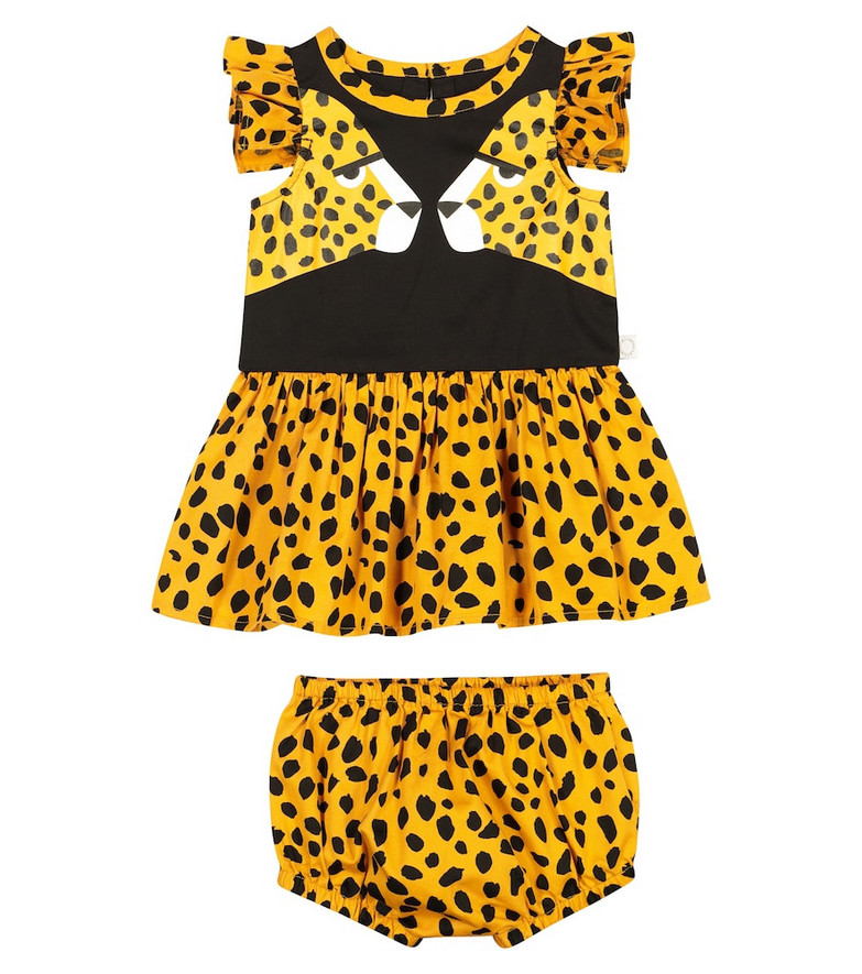 Stella McCartney Kids Baby cheetah-print cotton dress in black
