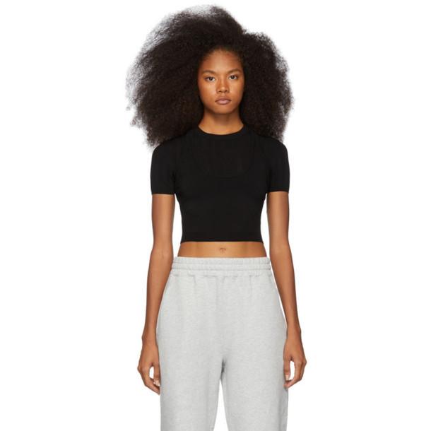 alexanderwang.t Black Mesh Stripe Bi-Layer T-Shirt