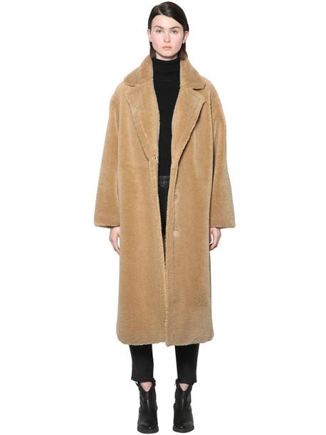 STAND Maria Teddy Faux Fur Midi Coat in beige