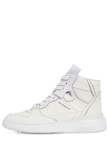 GIVENCHY 40mm Wing High Top Leather Sneakers in white