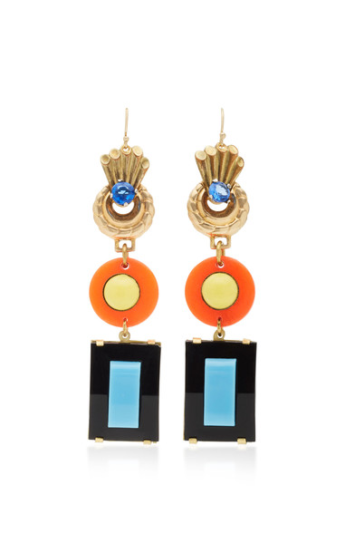 Lulu Frost Gold-Plated Crystal and Celluloid Earrings