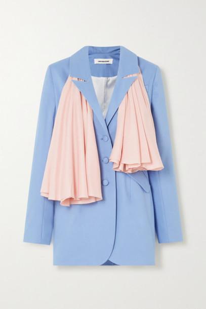Lado Bokuchava - Belted Twill Blazer - Light blue