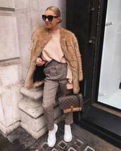 sweater,turtleneck sweater,high waisted pants,plaid,sneakers,louis vuitton bag,faux fur coat