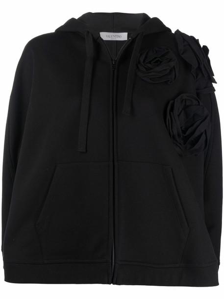 Valentino floral-embellished hooded poncho - Black