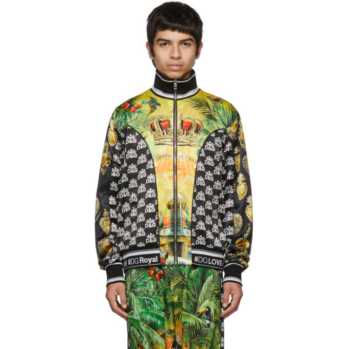 Dolce and Gabbana Dolce & Gabbana Multicolor Hawaiin Logo Zip-Up Shirt