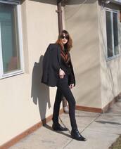 jacket,black blazer,wool,black skinny jeans,black boots,black sweater