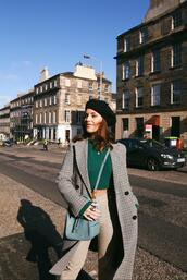 the little magpie,blogger,coat,sweater,bag,sunglasses,pants,shoes,winter outfits,grey sweater,blue  bag,beret