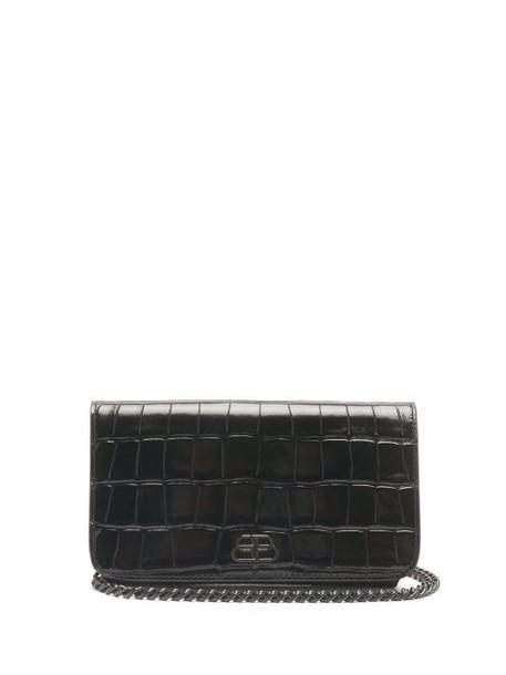 Balenciaga - Sharp Mini Crocodile-effect Leather Cross-body Bag - Womens - Black