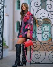 bag,crossbody bag,knee high boots,black boots,heel boots,jacket