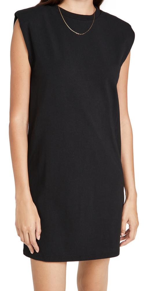Z Supply Shoulder Pad Tee Dress in black