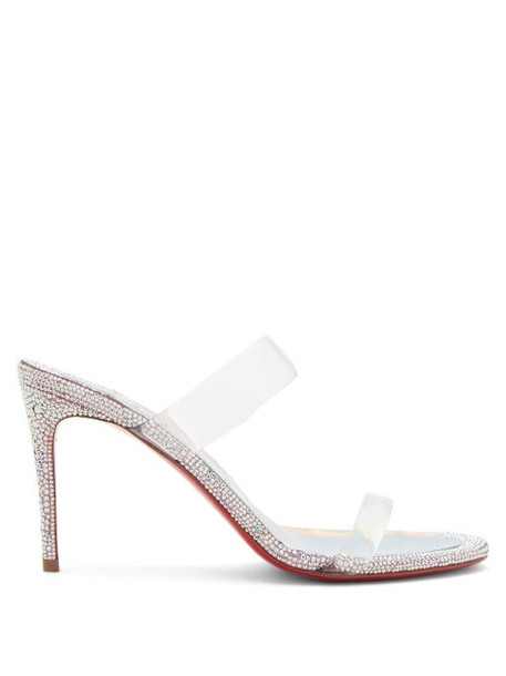Christian Louboutin - Just Strass 85 Crystal-embellished Leather Mules - Womens - Silver Multi