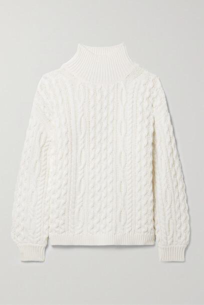 Alice + Olivia Alice + Olivia - Kenny Oversized Cable-knit Wool-blend Turtleneck Sweater - White