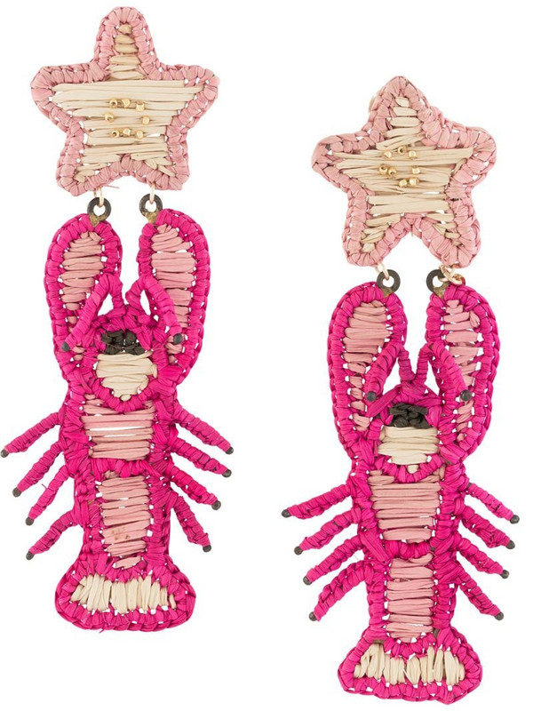 Mercedes Salazar embroidered lobster earrings in pink