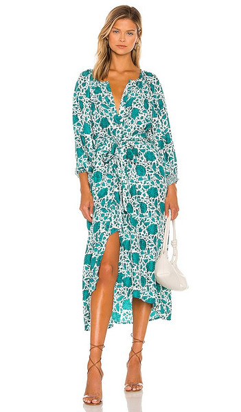 Natalie Martin Alex Sash Dress in Turquoise in print