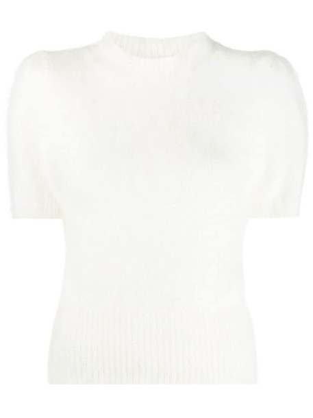 Amen short sleeved textured top in white