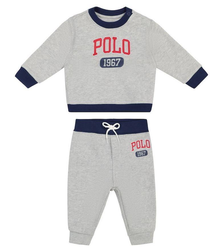 Polo Ralph Lauren Kids Baby logo cotton-blend sweatshirt and pants set in grey