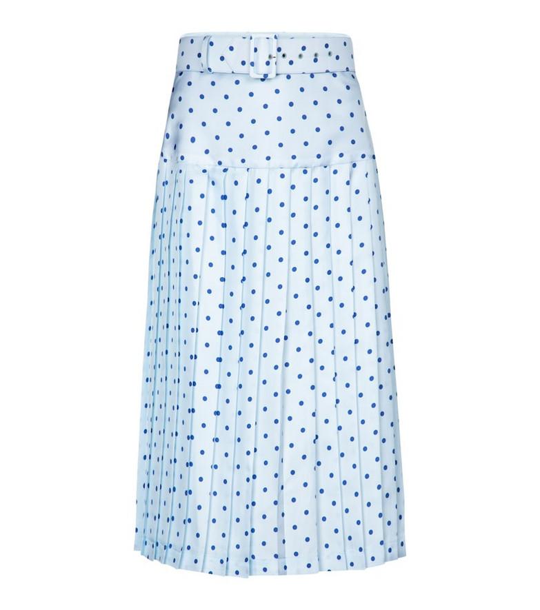 Rodarte Polka-dot high-rise silk midi skirt in blue