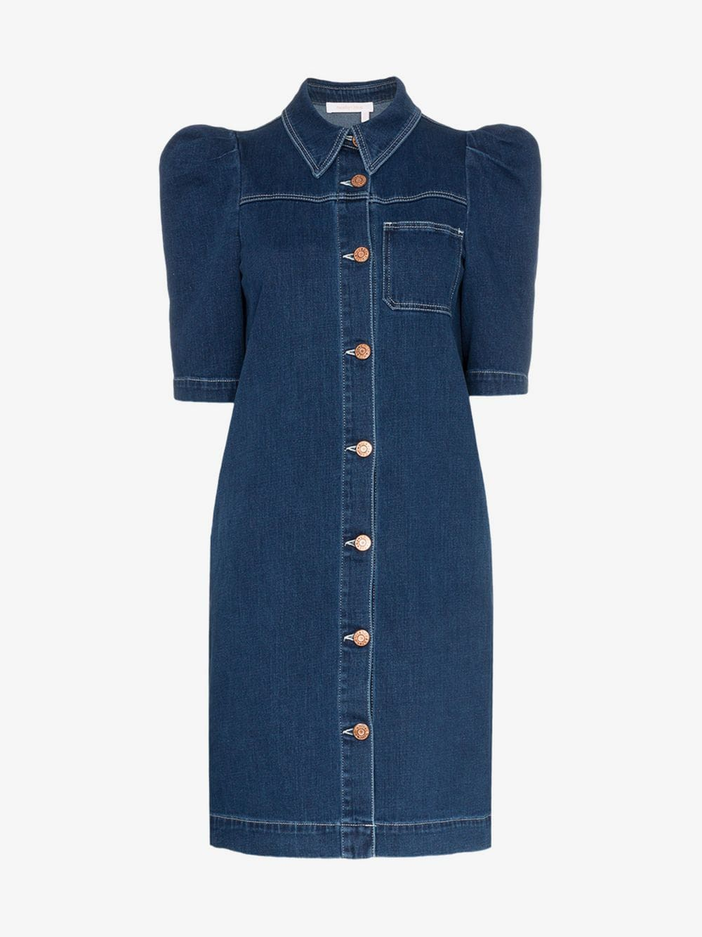 See By Chloé See By Chloé Puff sleeve button-down denim mini dress