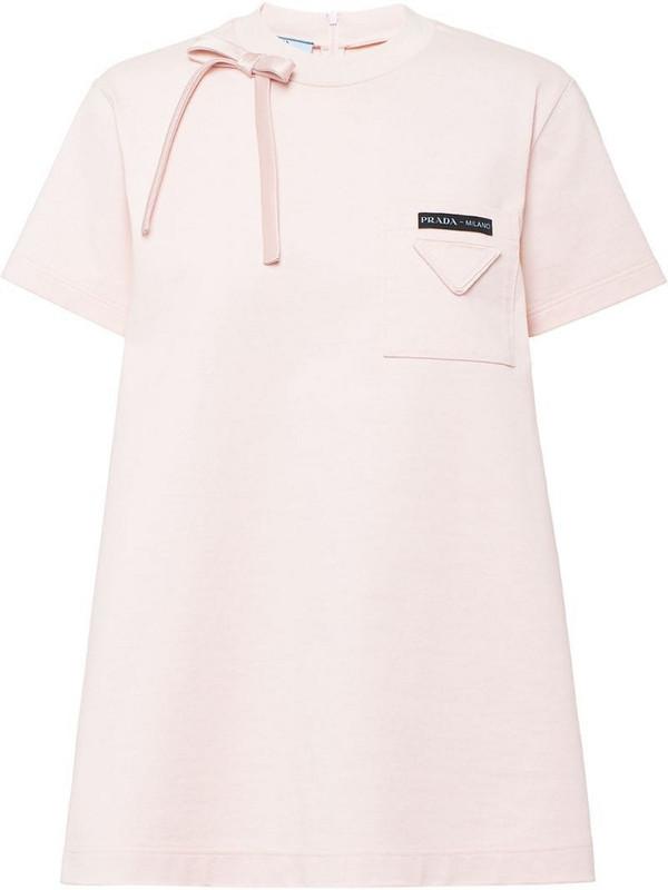 Prada bow detail top in pink