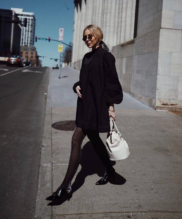 dress mini dress black dress white bag puffed sleeves long prom dress mules tights