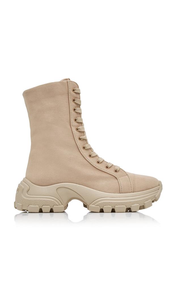 Miu Miu Washed Denim Combat Boots in neutral