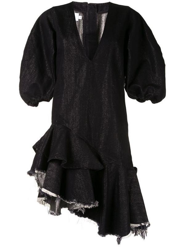 Marques'Almeida puff-sleeve ruffled-hem dress in black