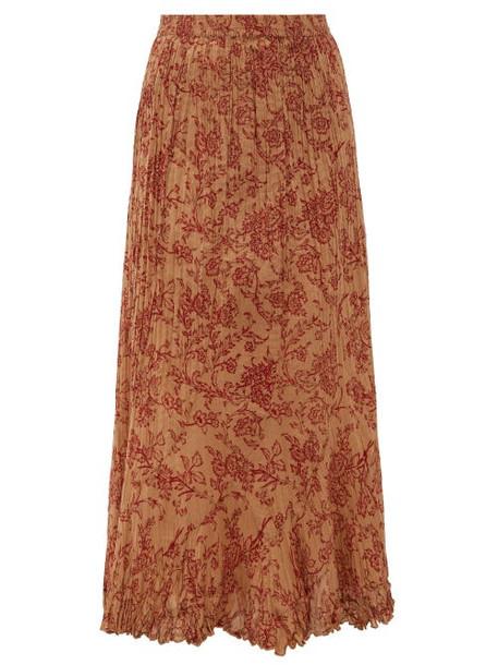 Mes Demoiselles - Jouvencelle Floral-print Pleated Cotton Midi Skirt - Womens - Brown Print