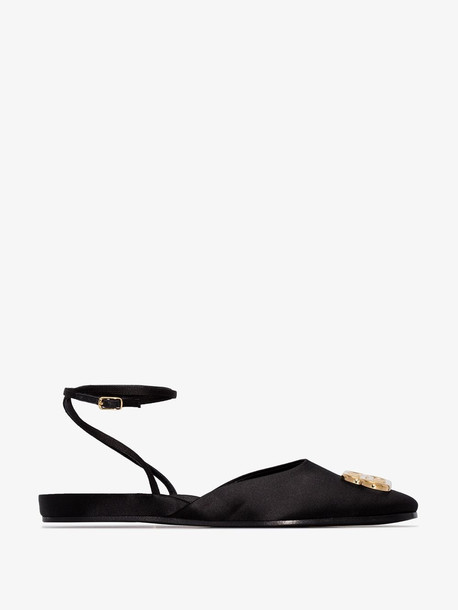 Balenciaga black ankle strap pumps